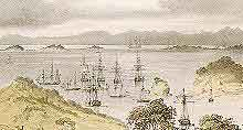 watercolour: LeBreton, d'Urville's ship, whaling ships at Russell, Bay of Islands